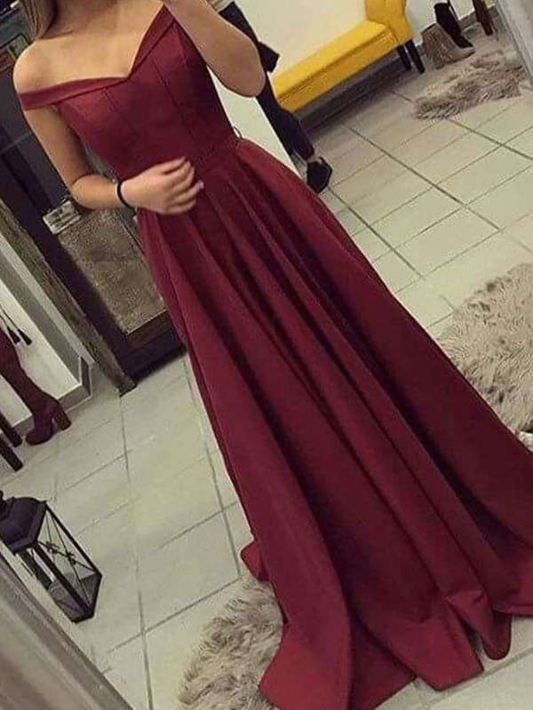 Exquisite A-Line Off-the-Shoulder Sleeveless Sweep/Brush Train Satin Dress