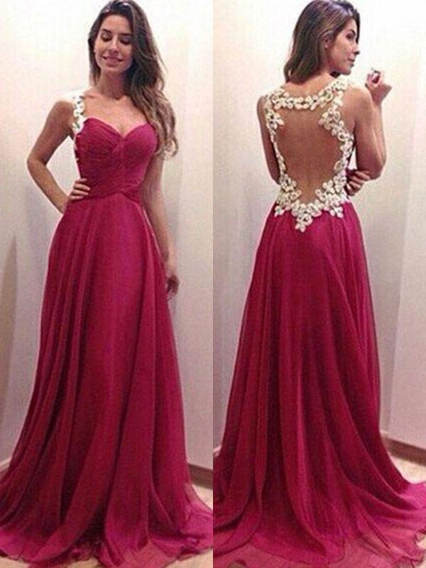 Gorgeous A-Line Sweetheart Sleeveless Sweep/Brush Train Chiffon Dress