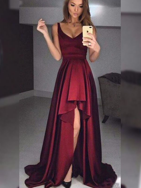 Beautiful A-Line Sleeveless Straps Asymmetrical Satin Dress