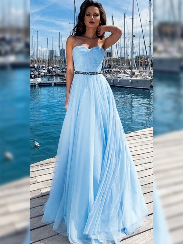 Nice A-Line Chiffon Sweetheart Sleeveless Floor-Length Dress