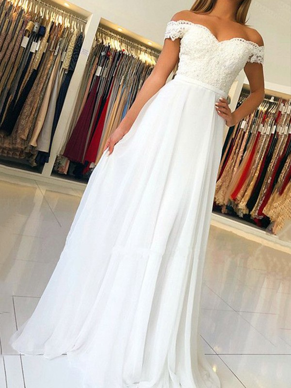 Cheap A-Line Sleeveless Off-the-Shoulder Floor-Length Chiffon Dress