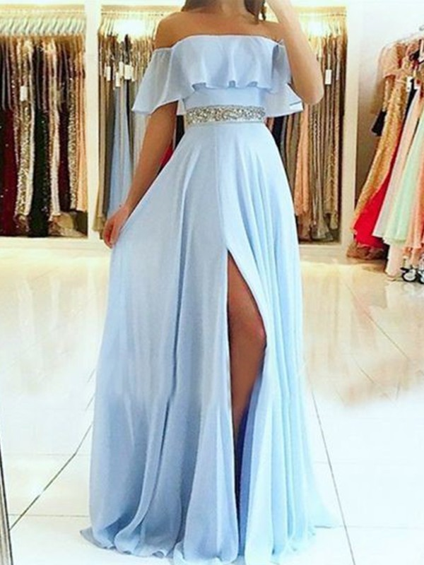 Glamorous A-Line Sleeveless Off-the-Shoulder Floor-Length Chiffon Dress