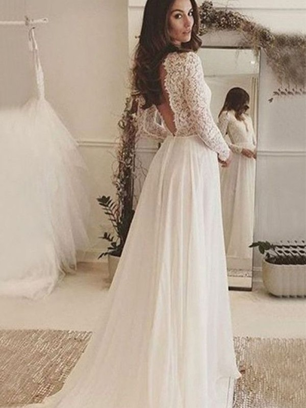 Perfect A-Line Chiffon Lace Scoop Long Sleeves Sweep/Brush Train Wedding Dress