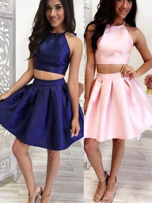 Beautiful A-Line Satin Halter Sleeveless Short/Mini Two Piece Dress
