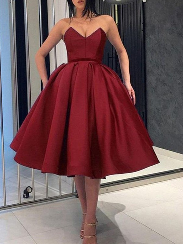 Cheap Ball Gown Satin Sweetheart Sleeveless Knee-Length Dress