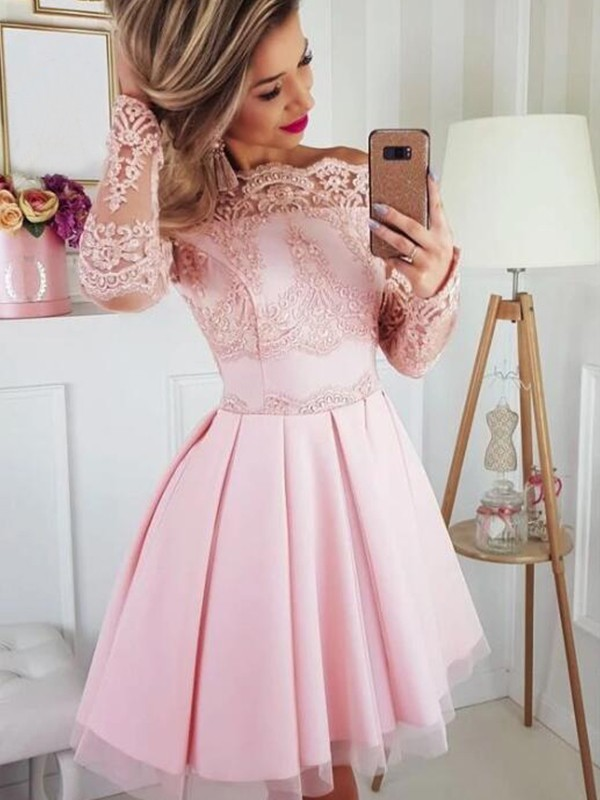 Amazing A-Line Satin Lace Off-the-Shoulder Long Sleeves Short/Mini Homecoming Dress