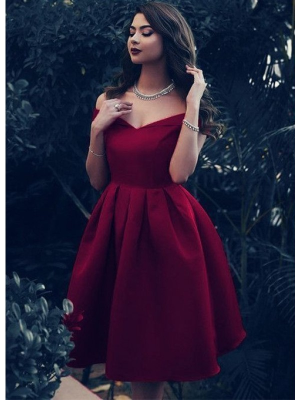 Exquisite A-Line Satin Off-the-Shoulder Sleeveless Knee-Length Homecoming Dress