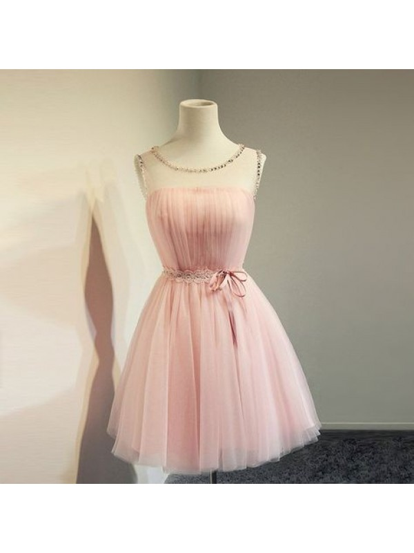 Elegant A-Line Tulle Scoop Sleeveless Short/Mini Homecoming Dress