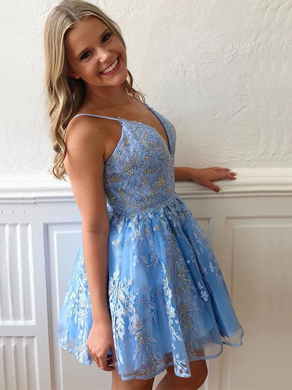 Charming A-Line Tulle Spaghetti Straps Sleeveless Short/Mini Homecoming Dress