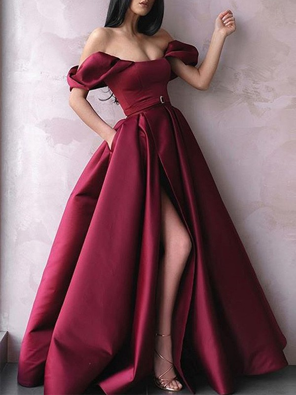 New Arrival A-Line Off-the-Shoulder Satin Floor-Length Dress