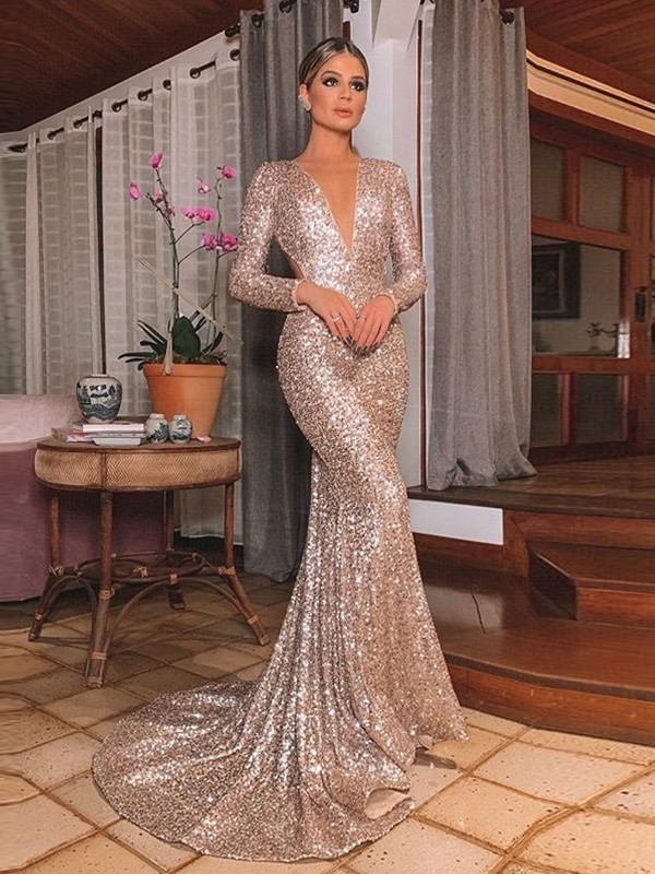 Stylish Mermaid Sequins Long Sleeves V-neck Sweep/Brush Train Dress