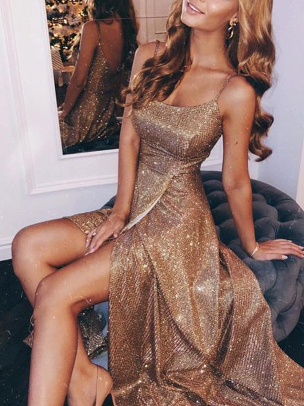Stunning A-Line Sequins Spaghetti Straps Sleeveless Floor-Length Dress