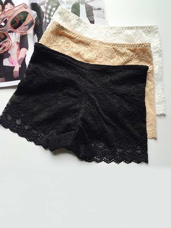 Women Lace Elastic Safety Pants Shorts
