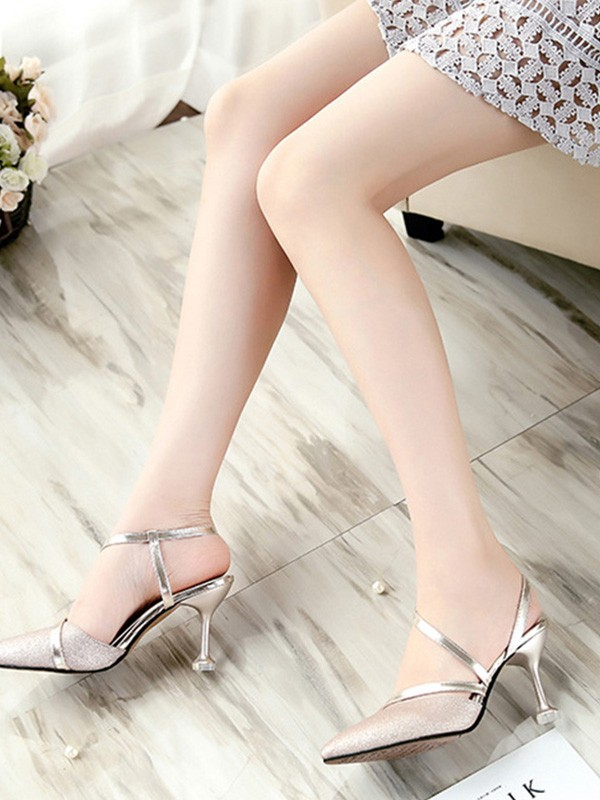 New Women Girls PU Stiletto Heel Closed Toe Sandals
