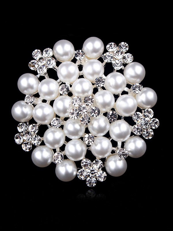 Women's Fashion Alloy With Rhinestone/Imitation Pearl Wedding Brooch