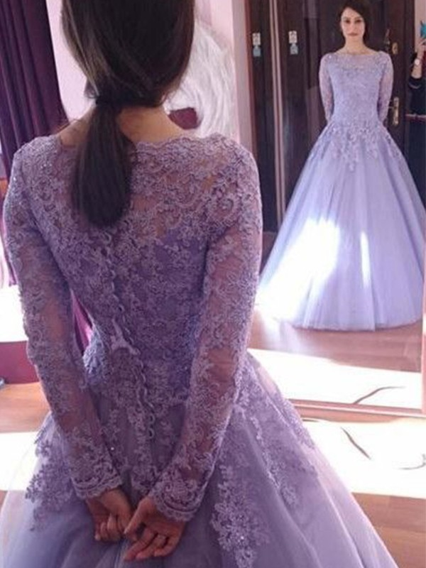 Elegant Ball Gown Jewel Long Sleeves Floor-Length Tulle Dress