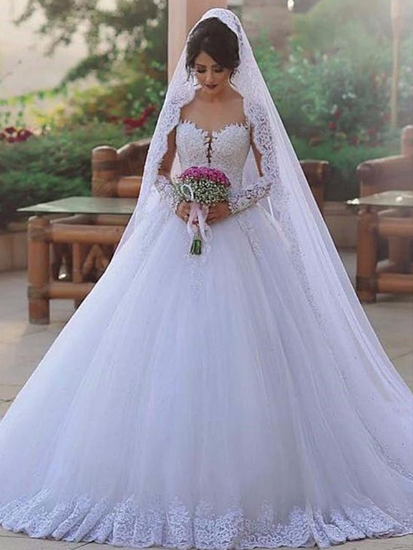 Amazing Ball Gown Sweetheart Long Sleeves Sweep/Brush Train Lace Tulle Wedding Dress