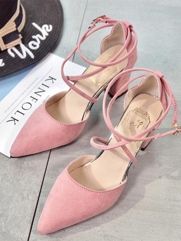New Women Girls Suede Stiletto Heel Closed Toe Sandals