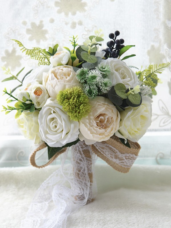 Hot Sale Round Silk Flower Wedding Bouquets