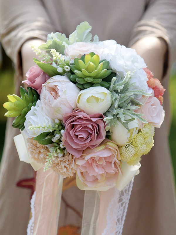 Hot Sale Round Emulational Succulent Plant Wedding Bouquets