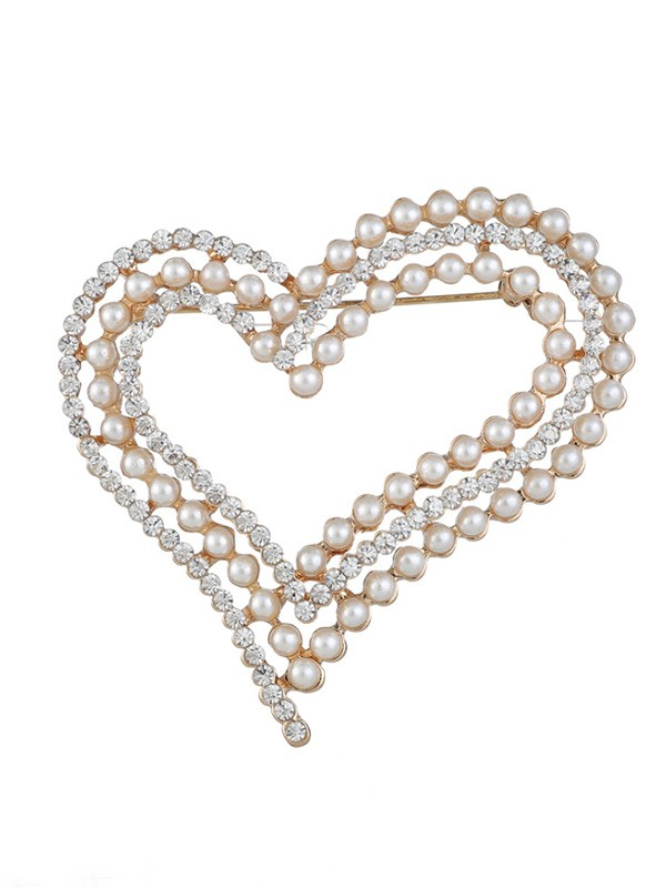 Women's Fashion Eternal Love Alloy With Rhinestone/Imitation Pearl Wedding Brooch