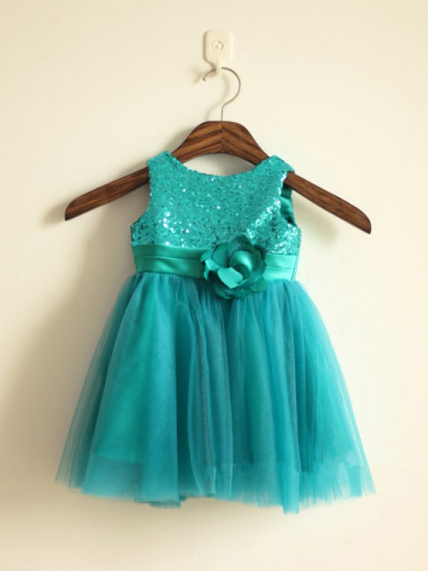 New A-line Scoop Knee-length Tulle Flower Girl Dress