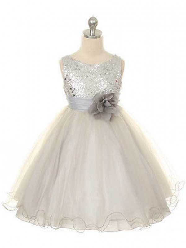 Fashion Ball Gown Jewel Tea-Length Organza Flower Girl Dress