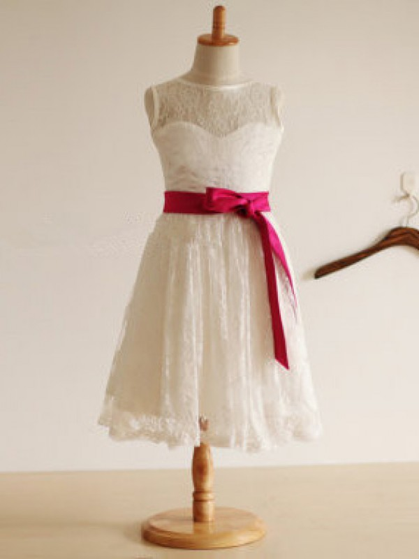 Beautiful Jewel A-line Tea-length Lace Flower Girl Dress