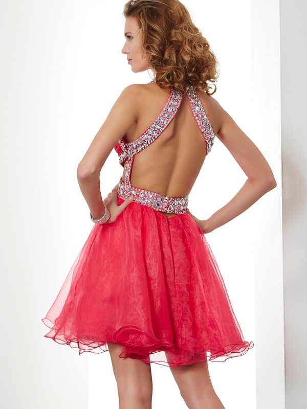Beautiful A-Line Halter Sleeveless Short Organza Homecoming Dress