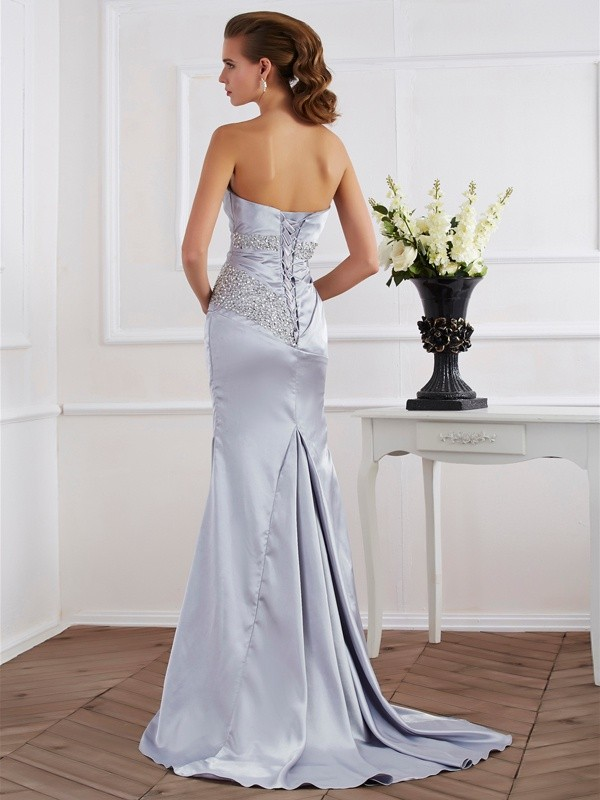 Beautiful Mermaid Strapless Long Elastic Woven Satin Dress