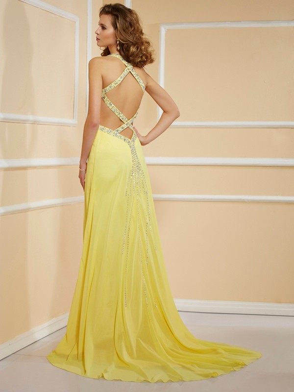 Beautiful Sheath Spaghetti Straps Sleeveless Long Chiffon Dress