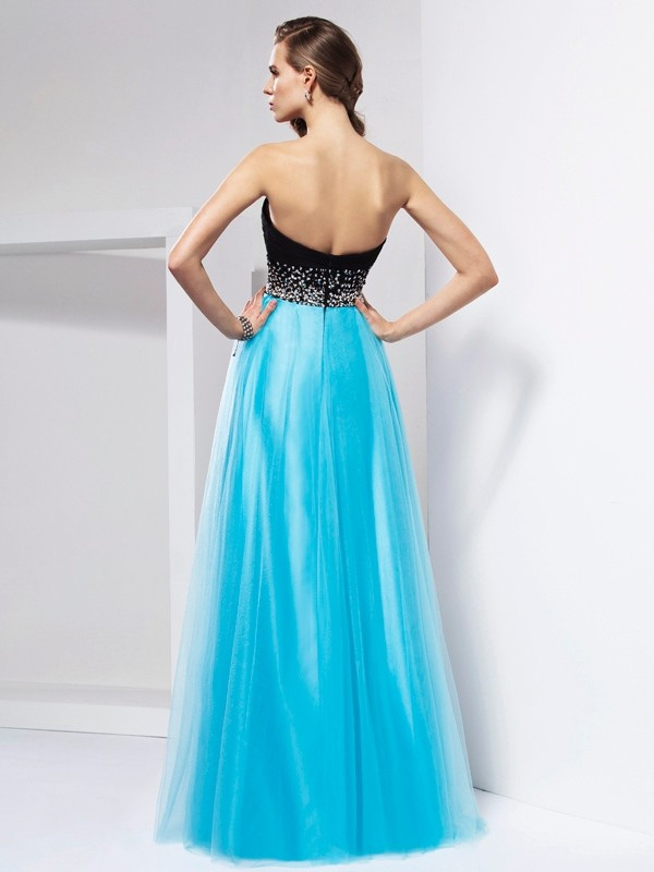 Beautiful A-Line Sweetheart Sleeveless Long Net Dress