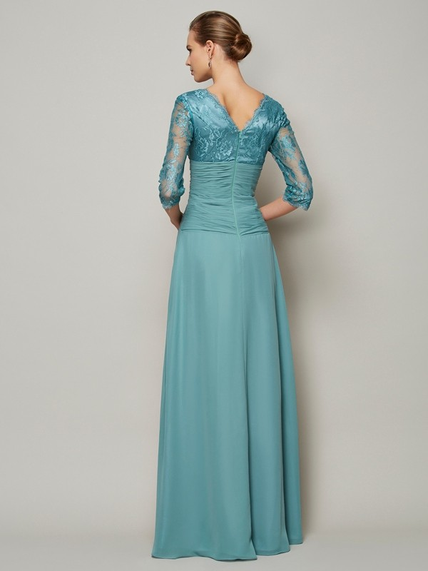 Beautiful A-Line V-neck 3/4 Sleeves Lace Long Chiffon Mother of the Bride Dress