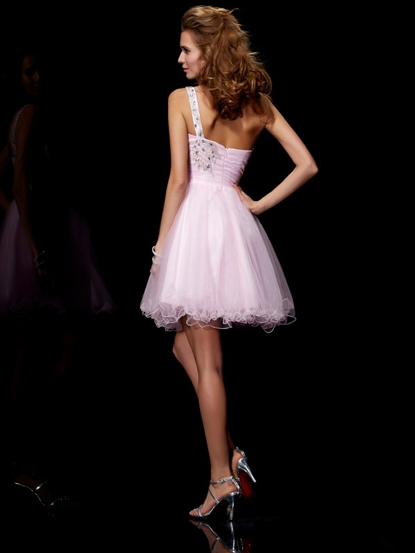 Elegant A-Line One-Shoulder Sleeveless Short Elastic Woven Satin Homecoming Dress