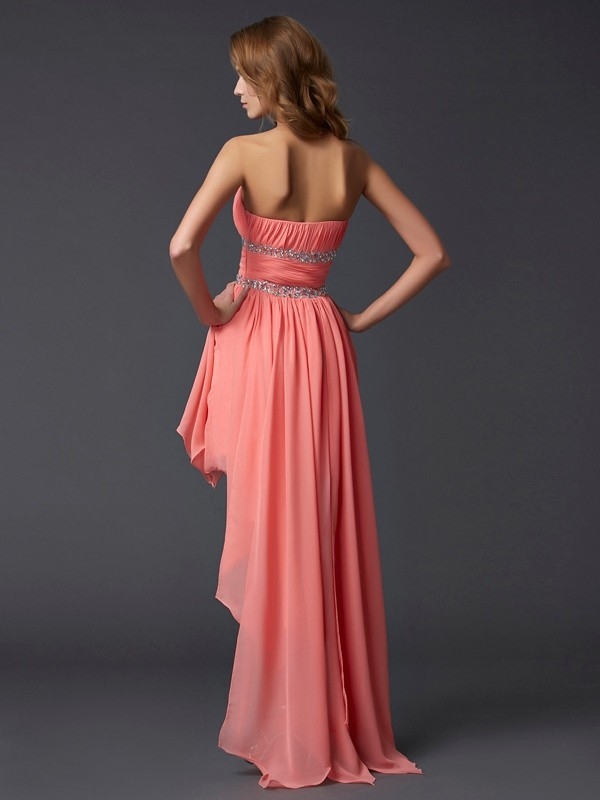 Elegant Empire Strapless Sleeveless High Low Chiffon Homecoming Dress