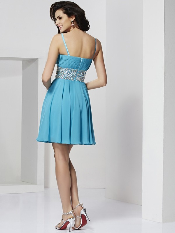 Elegant A-Line Spaghetti Straps Sleeveless Short Chiffon Homecoming Dress