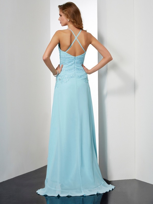 Elegant A-Line Spaghetti Straps Sleeveless High Low Chiffon Dress
