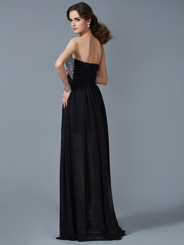 Elegant A-Line Sweetheart Sleeveless Chiffon Long Dress