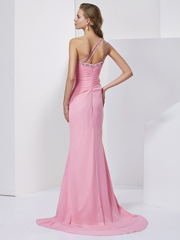 Elegant Sheath Sweetheart Sleeveless Long Chiffon Dress