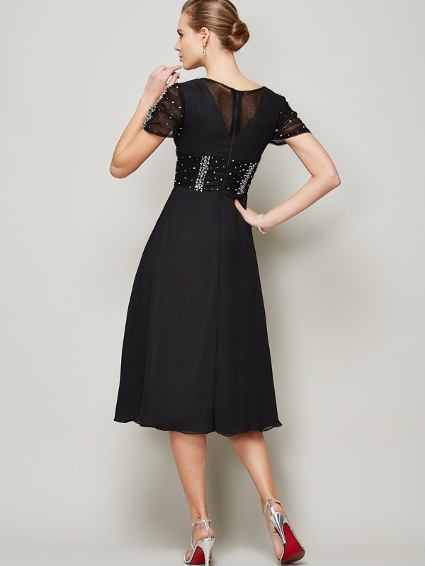 Elegant A-Line V-neck Short Sleeves Short Chiffon Homecoming Dress