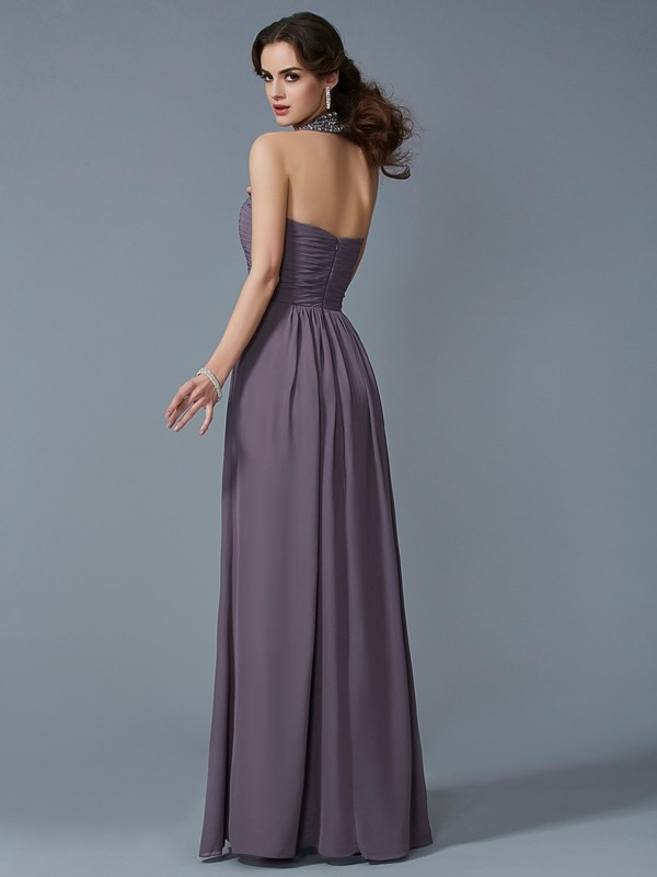 Chic Sheath High Neck Sleeveless Long Chiffon Dress