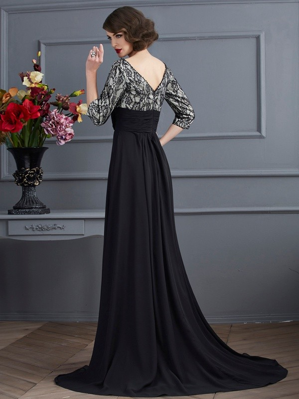 Chic Sheath V-neck 3/4 Sleeves Lace Long Chiffon Dress