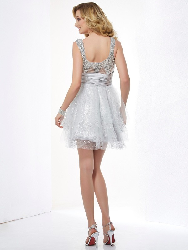 Chic A-Line Straps Sleeveless Short Elastic Woven Satin Homecoming Dress