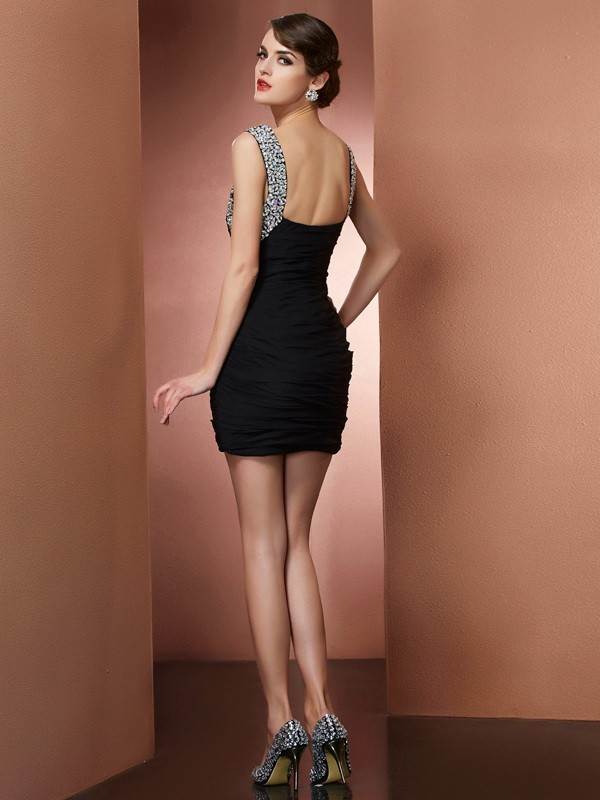 Chic Sheath Straps Sleeveless Short Chiffon Homecoming Dress
