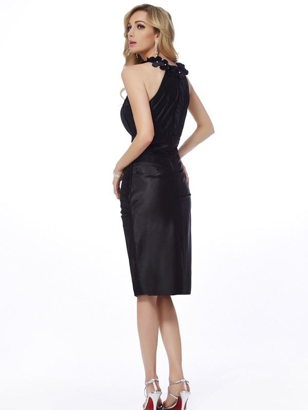 Chic Sheath Bateau Sleeveless Short Elastic Woven Satin Homecoming Dress