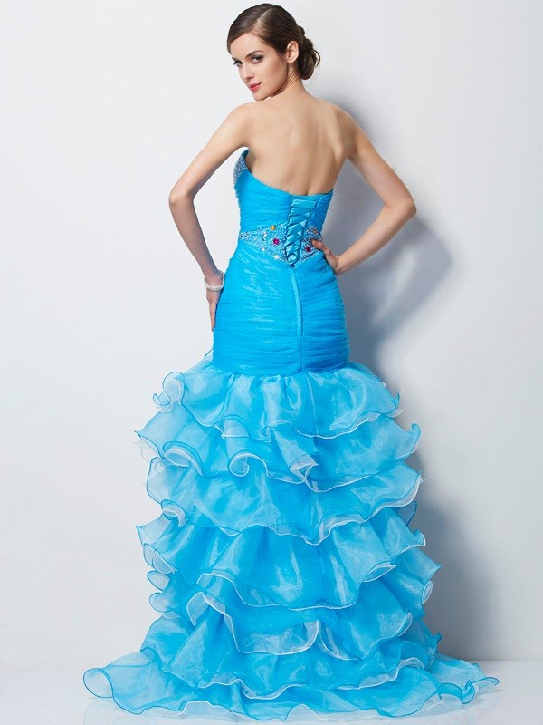 Chic Mermaid Sweetheart Sleeveless High Low Tulle Dress