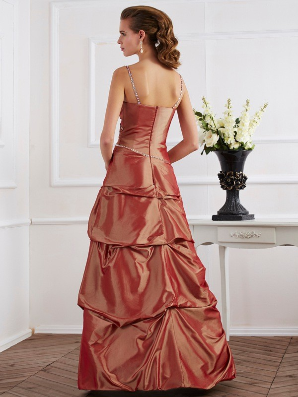 Chic Sheath Spaghetti Straps Sleeveless Long Taffeta Dress