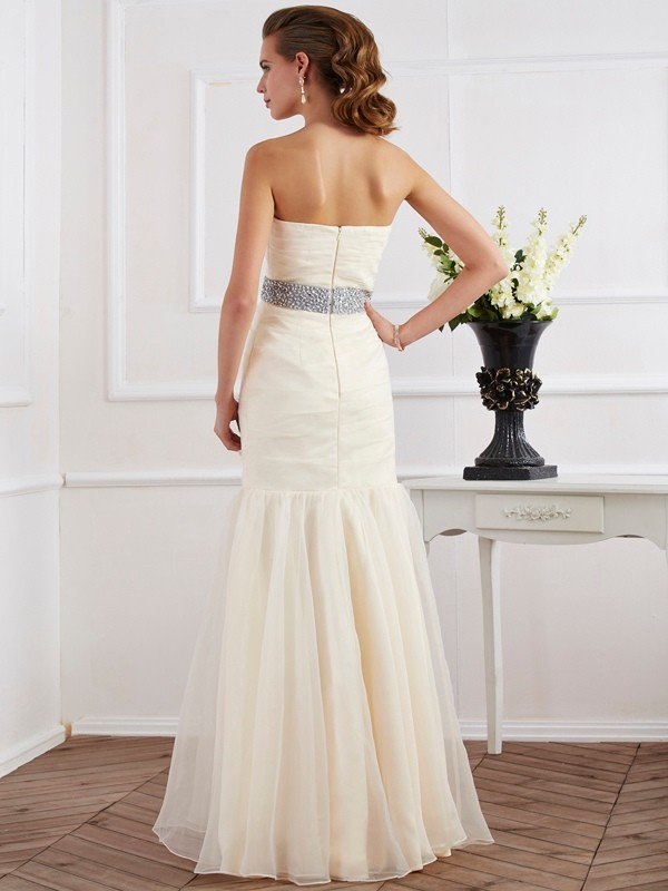 Chic Mermaid Strapless Sleeveless Long Organza Dress
