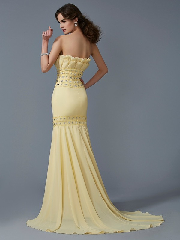 Stylish Mermaid Strapless Sleeveless Long Chiffon Dress