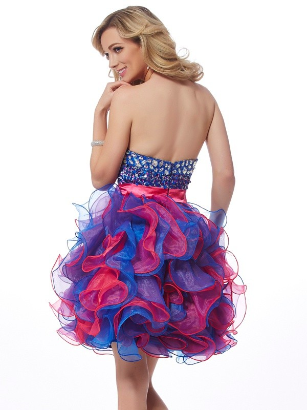 Stylish A-Line Sweetheart Sleeveless Sequin Short Organza Homecoming Dress